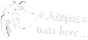 Sketch of Jaspa in white with the text 'Jaspa was here'